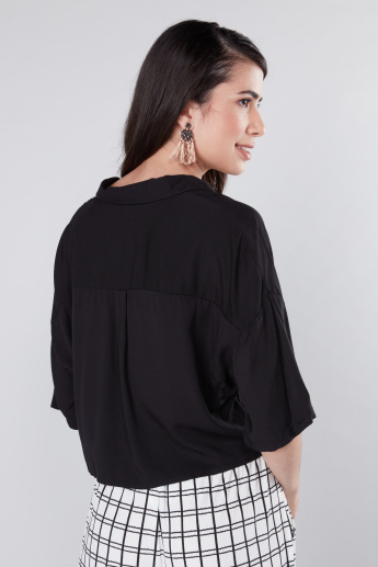 Cropped Shirt with Knot Detail and Complete Placket