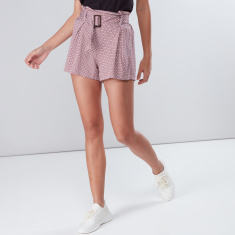 Printed Shorts with Paper Bag Waist