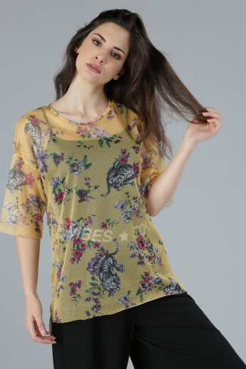 Floral Printed Round Neck Top with Short Sleeves and Mesh Detail