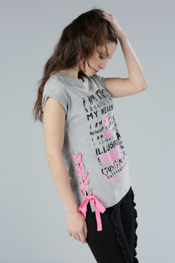 Printed T-Shirt with Round Neck and Lace-Up Detail