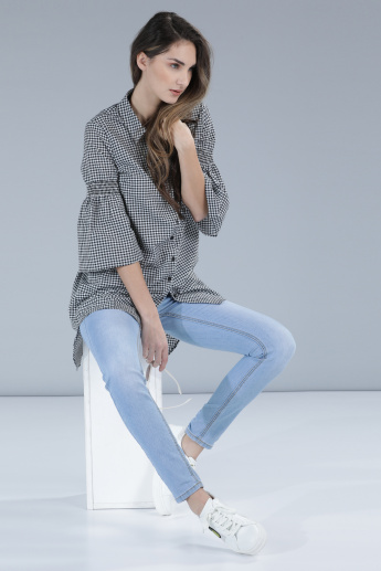 Chequred Shirt with Flare Sleeves and Complete Placket