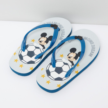 Mickey Mouse Printed Flip Flops with Applique Detail Straps