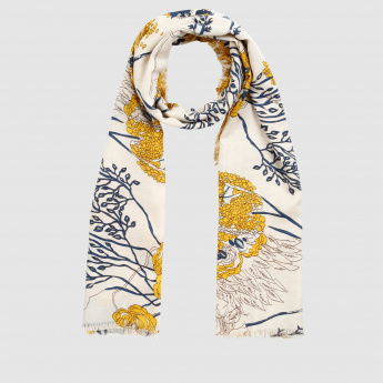 Floral Print Scarf with Fringed Hem