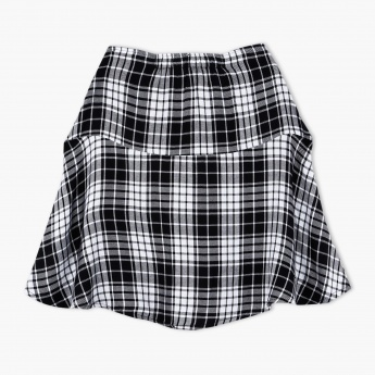 Chequered Skirt with Elasticised Waistband