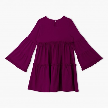 Frill Dress with Long Bell Sleeves