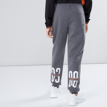 Printed Full Length Jog Pants with Drawstring and Pocket Detail