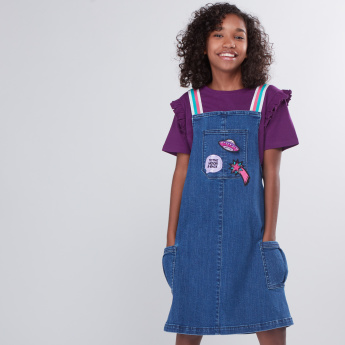Embroidered Detail Denim Dungaree Dress