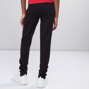 Full Length Leggings with Elasticised Waistband and Button Detail