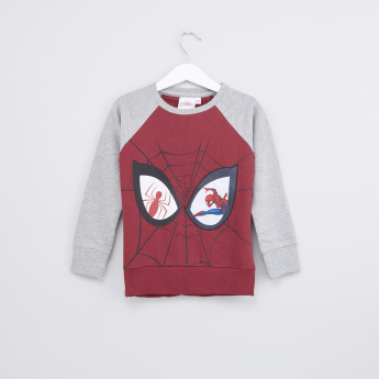 Spider-Man Printed Sweatshirt with Round Neck and Long Sleeves