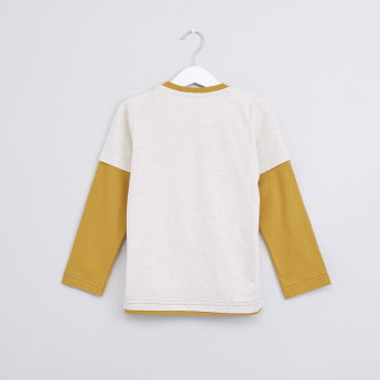 Printed Round Neck Doctor Sleeves T-Shirt