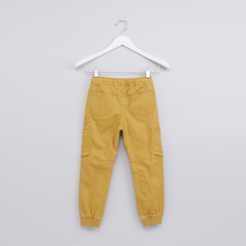 Pocket Detail Jog Pants with Button Closure and Drawstring