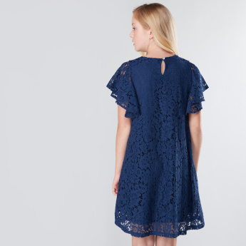 Lace Detail Cap Sleeves Midi Dress
