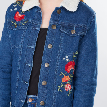 Embroidered Long Sleeves Denim Jacket