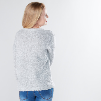 Textured Plush Detail Long Sleeves Sweater