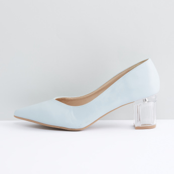 Pointed Toe Pumps with Block Heels
