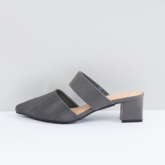 Textured Slides with Block Heels