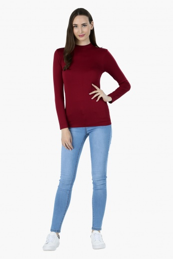 High Neck T-Shirt with Long Sleeves