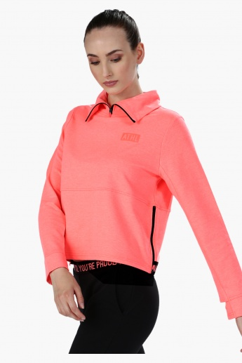 High Collar Melange Sweatshirt with Long Sleeves and Side Zips