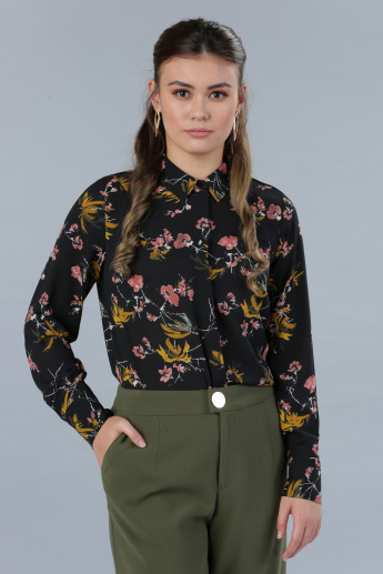 9ae665cafb2 Floral Print Shirt with Long Sleeves