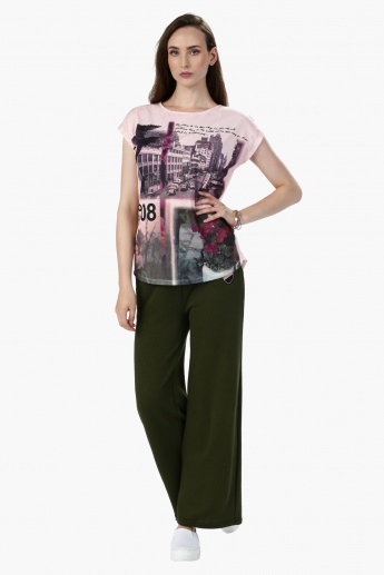 Embroidered Full Length Track Pants with Elasticised Waistband