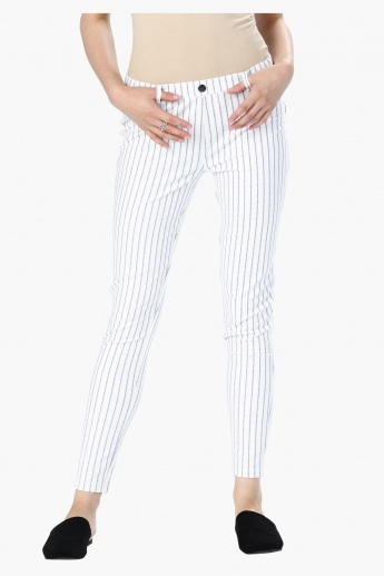 Striped Mid Rise Jeggings with Belt Loops