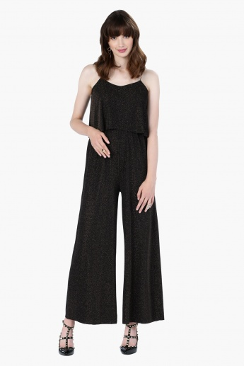 Textured Sleeveless Jumpsuit