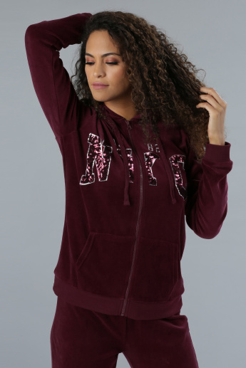 Embellished Hoodie with Long Sleeves
