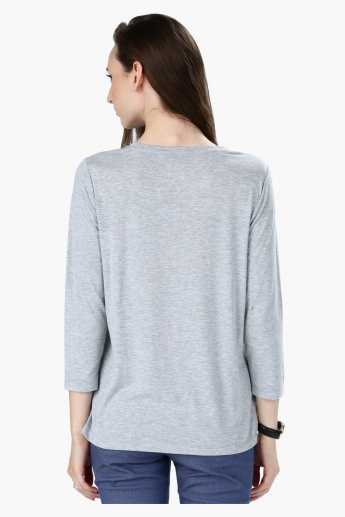 Printed Round Neck T-Shirt with 3/4 Sleeves