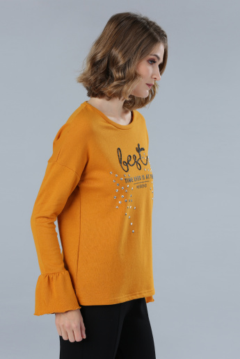 Embellished T-Shirt with Long Flounce Sleeves