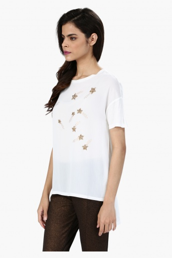 Embellished Short Sleeves Top