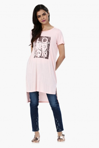 Sequin Embellished Short Sleeves Tunic Top with High Low Hem