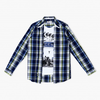 Printed Long Sleeves Shirt with Mock T-Shirt Insert