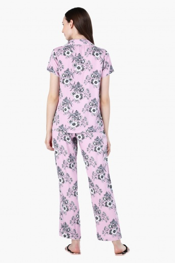 Floral Print Short Sleeves Pyjama Set