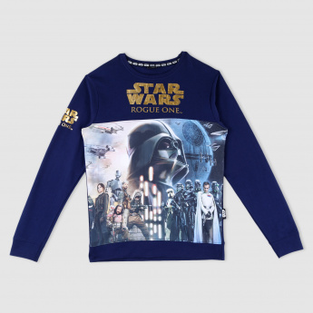 Star Wars Printed Round Neck Long Sleeves T-Shirt