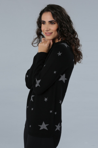 Star Print Long Sleeves Sweater