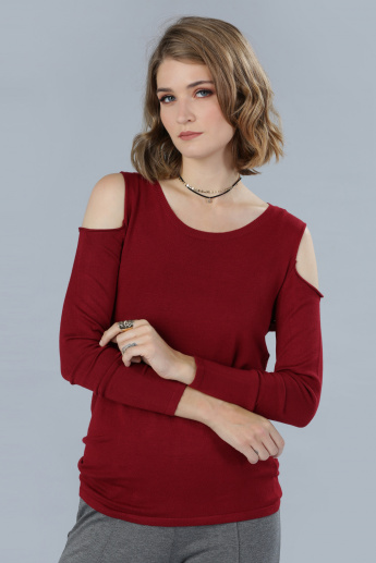 Cold Shoulder Top with Long Sleeves