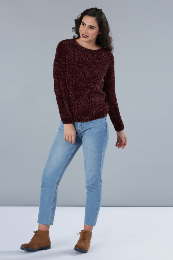 Textured Round Neck Sweater with Long Sleeves