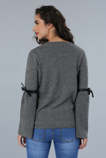 Textured Bell Sleeves Sweater