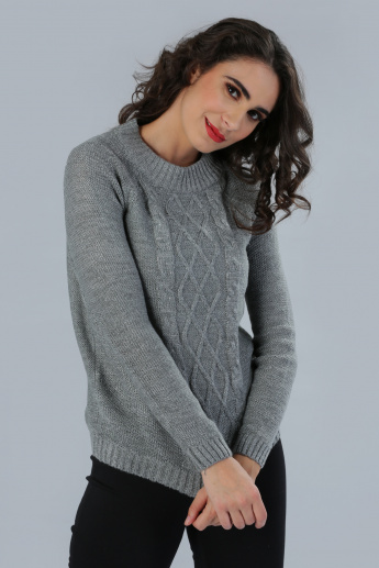 High Neck Long Sleeves Textured Sweater