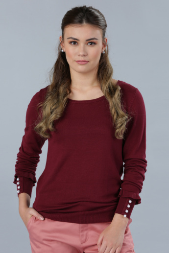 Embellished Long Sleeves Jumper with Ruffle Detail