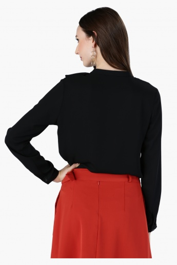 Long Sleeves Top with Ruffle Neckline