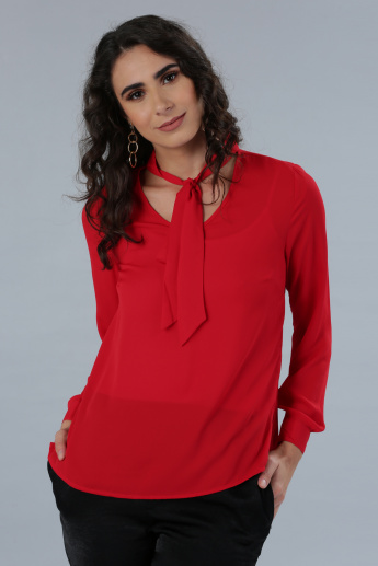 6b1bf505e3828 Long Sleeves Top with Pussy Bow