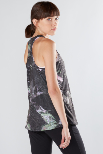 Printed Sleeveless Vest with Racerback