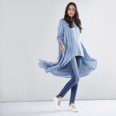 Striped Shirt Tunic with Asymmetric Hem
