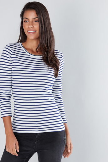 Striped Round Neck 3/4 Sleeves T-Shirt