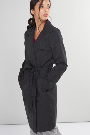 Long Sleeves Trench Coat with Pocket Detail and Tie Up