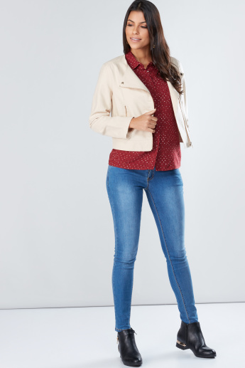 Crop Biker Jacket with Long Sleeves and Zip Closure