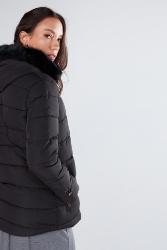 Plush Hood Jacket with Pocket Detail