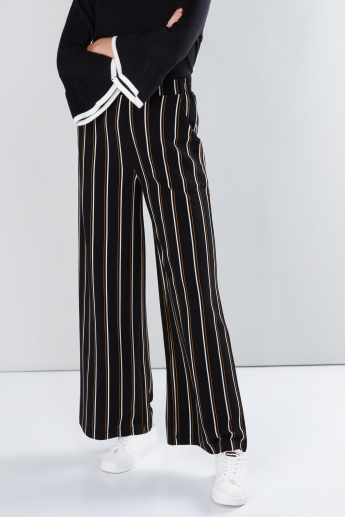 Striped Palazzo Pants with Pocket Detail and Elasticised Waistband