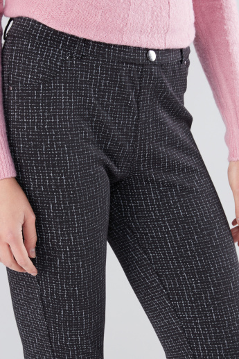 Textured Jeggings with Pocket Detail and Elastcised Waistband
